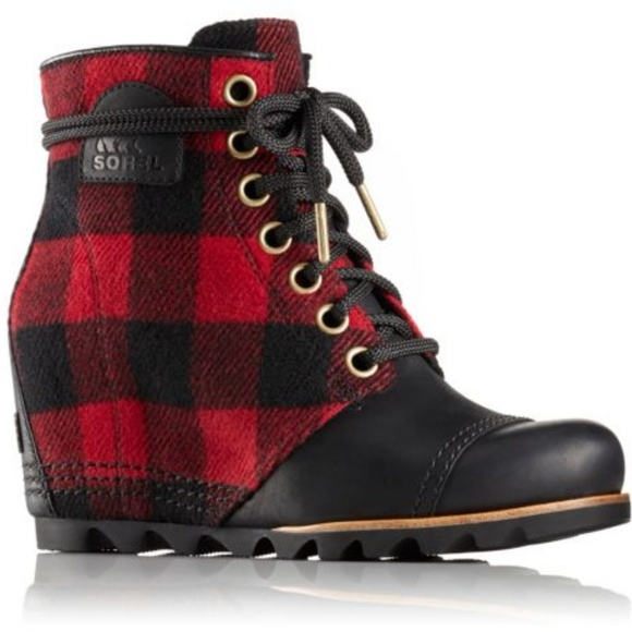 32a79c74c9db NEW Sorel PDX Wedge Boot - red and black plaid. M 5ae207b3fcdc31d0753fea5e
